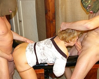These mature sluts get banged by a whole gang