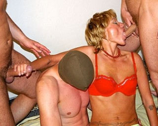 Let the cum fly in this mature gang bang